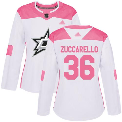 Adidas Stars #36 Mats Zuccarello White/Pink Authentic Fashion Women's Stitched NHL Jersey