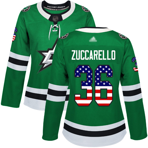 Adidas Stars #36 Mats Zuccarello Green Home Authentic USA Flag Women's Stitched NHL Jersey