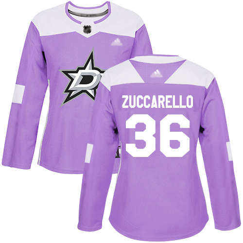 Adidas Stars #36 Mats Zuccarello Purple Authentic Fights Cancer Women's Stitched NHL Jersey