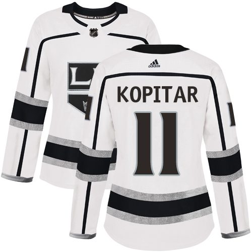 Adidas Kings #11 Anze Kopitar White Road Authentic Women's Stitched NHL Jersey
