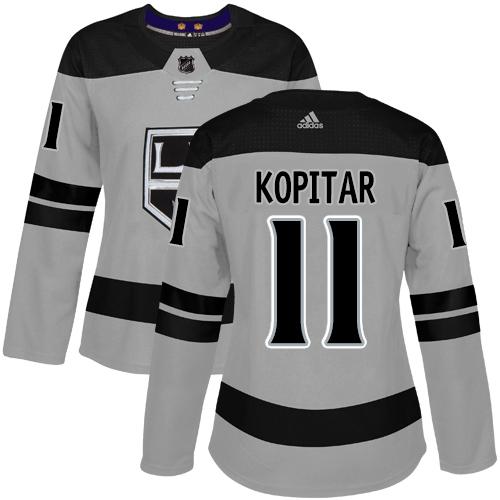 Adidas Kings #11 Anze Kopitar Gray Alternate Authentic Women's Stitched NHL Jersey