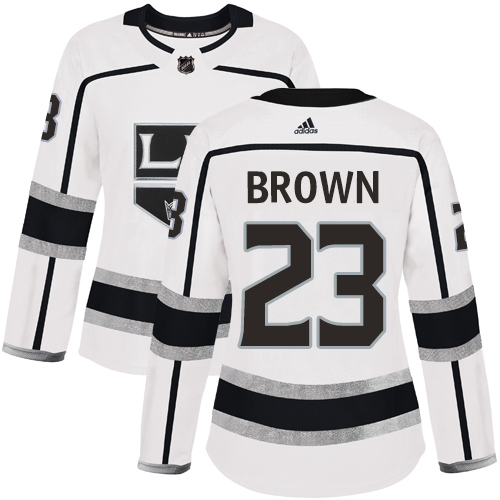 Adidas Kings #23 Dustin Brown White Road Authentic Women's Stitched NHL Jersey