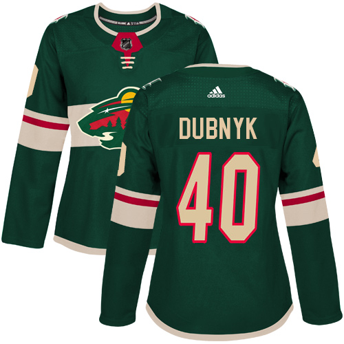 Adidas Wild #40 Devan Dubnyk Green Home Authentic Women's Stitched NHL Jersey