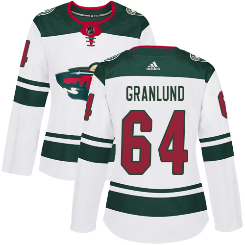 Adidas Wild #64 Mikael Granlund White Road Authentic Women's Stitched NHL Jersey