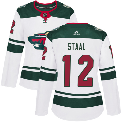 Adidas Wild #12 Eric Staal White Road Authentic Women's Stitched NHL Jersey