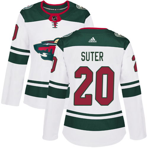 Adidas Wild #20 Ryan Suter White Road Authentic Women's Stitched NHL Jersey