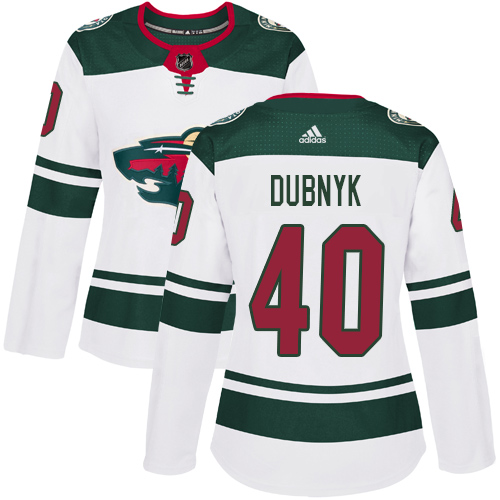 Adidas Wild #40 Devan Dubnyk White Road Authentic Women's Stitched NHL Jersey
