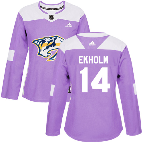 Adidas Predators #14 Mattias Ekholm Purple Authentic Fights Cancer Women's Stitched NHL Jersey