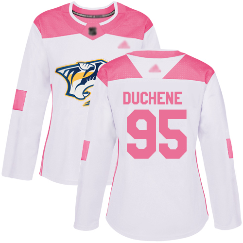Adidas Predators #95 Matt Duchene White/Pink Authentic Fashion Women's Stitched NHL Jersey