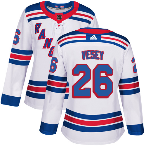 Adidas Rangers #26 Jimmy Vesey White Road Authentic Women's Stitched NHL Jersey