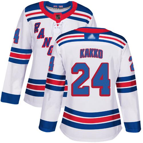 Adidas Rangers #24 Kaapo Kakko White Road Authentic Women's Stitched NHL Jersey