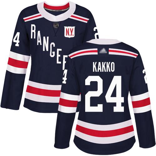 Adidas Rangers #24 Kaapo Kakko Navy Blue Authentic 2018 Winter Classic Women's Stitched NHL Jersey