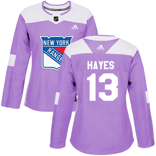 Adidas Rangers #13 Kevin Hayes Purple Authentic Fights Cancer Women's Stitched NHL Jersey