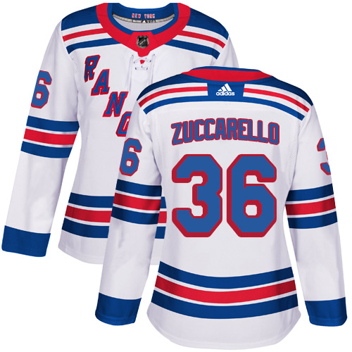 Adidas Rangers #36 Mats Zuccarello White Road Authentic Women's Stitched NHL Jersey