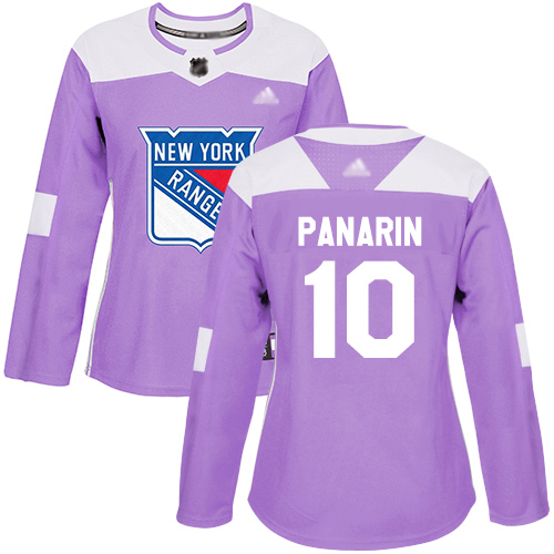 Adidas Rangers #10 Artemi Panarin Purple Authentic Fights Cancer Women's Stitched NHL Jersey