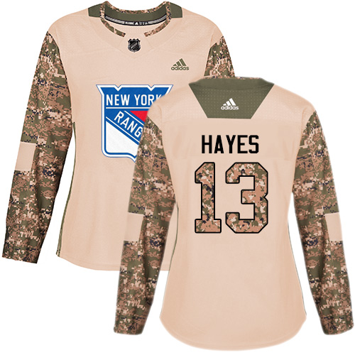 Adidas Rangers #13 Kevin Hayes Camo Authentic 2017 Veterans Day Women's Stitched NHL Jersey