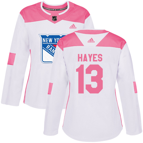 Adidas Rangers #13 Kevin Hayes White/Pink Authentic Fashion Women's Stitched NHL Jersey