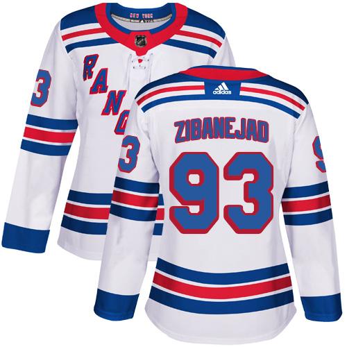 Adidas Rangers #93 Mika Zibanejad White Road Authentic Women's Stitched NHL Jersey