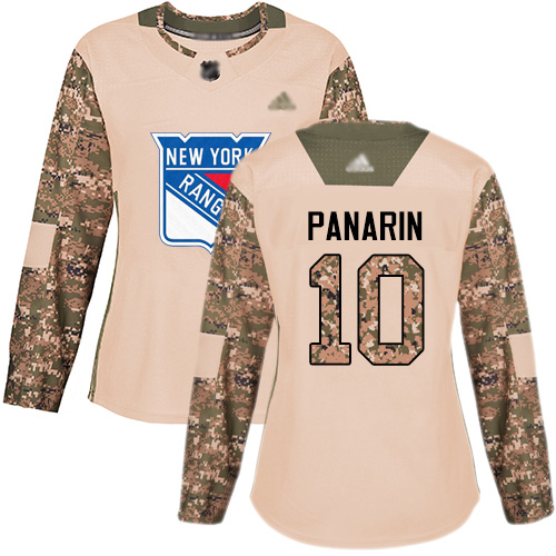 Adidas Rangers #10 Artemi Panarin Camo Authentic 2017 Veterans Day Women's Stitched NHL Jersey