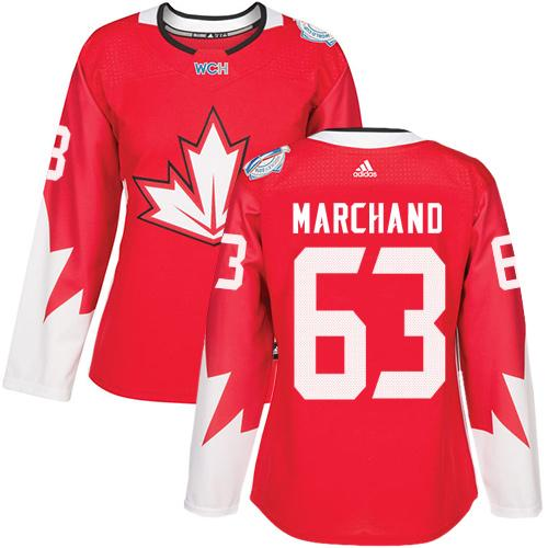 Team Canada #63 Brad Marchand Red 2016 World Cup Women's Stitched NHL Jersey