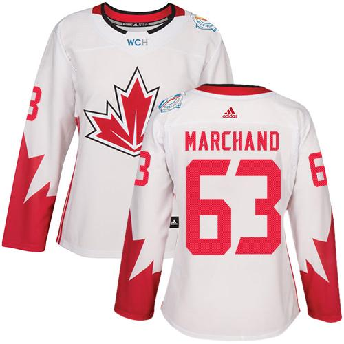 Team Canada #63 Brad Marchand White 2016 World Cup Women's Stitched NHL Jersey