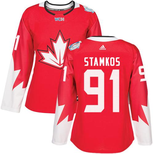 Team Canada #91 Steven Stamkos Red 2016 World Cup Women's Stitched NHL Jersey