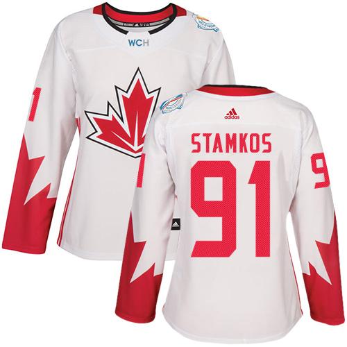 Team Canada #91 Steven Stamkos White 2016 World Cup Women's Stitched NHL Jersey