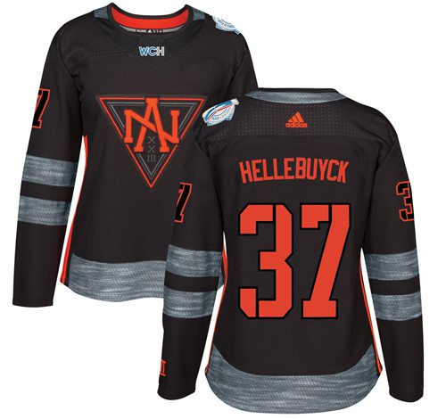 Team North America #37 Connor Hellebuyck Black 2016 World Cup Women's Stitched NHL Jersey