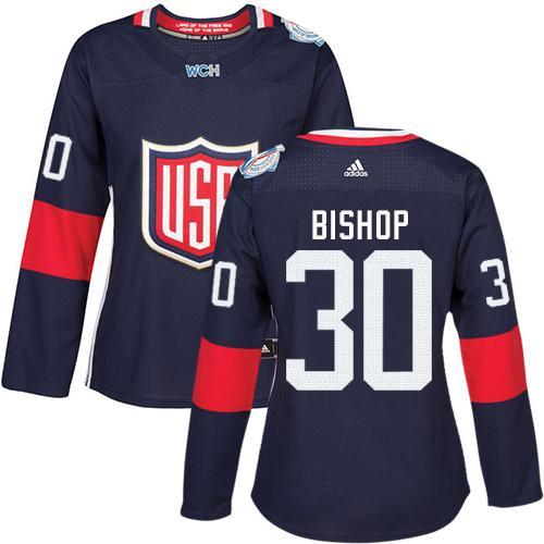 Team USA #30 Ben Bishop Navy Blue 2016 World Cup Women's Stitched NHL Jersey