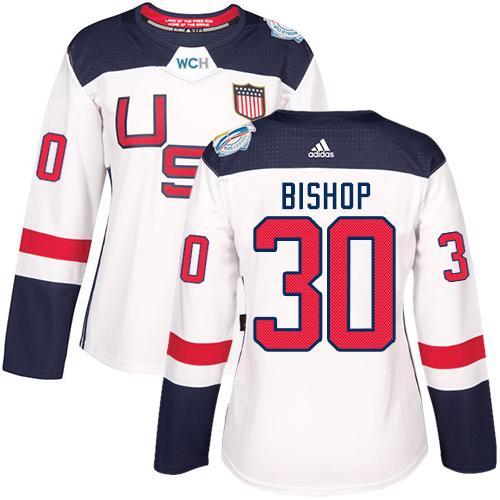 Team USA #30 Ben Bishop White 2016 World Cup Women's Stitched NHL Jersey