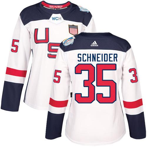 Team USA #35 Cory Schneider White 2016 World Cup Women's Stitched NHL Jersey