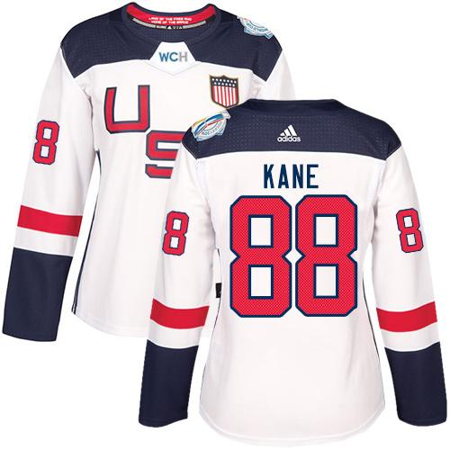 Team USA #88 Patrick Kane White 2016 World Cup Women's Stitched NHL Jersey