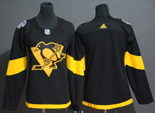 Adidas Penguins Blank Black Authentic 2019 Stadium Series Women's Stitched NHL Jersey