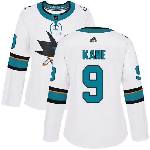 Adidas Sharks #9 Evander Kane White Road Authentic Women's Stitched NHL Jersey