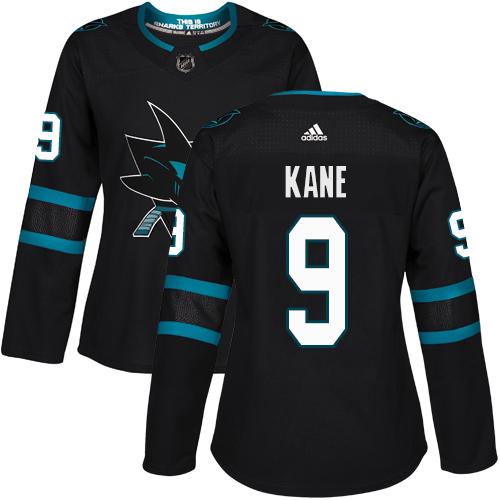 Adidas Sharks #9 Evander Kane Black Alternate Authentic Women's Stitched NHL Jersey