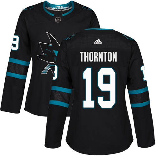 Adidas Sharks #19 Joe Thornton Black Alternate Authentic Women's Stitched NHL Jersey