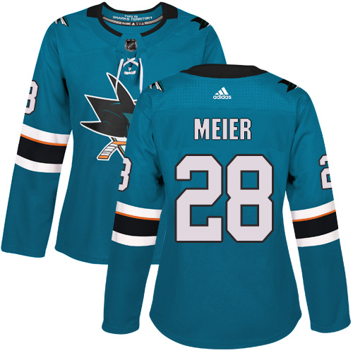 Adidas Sharks #28 Timo Meier Teal Home Authentic Women's Stitched NHL Jersey