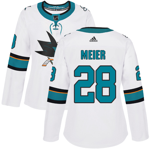 Adidas Sharks #28 Timo Meier White Road Authentic Women's Stitched NHL Jersey