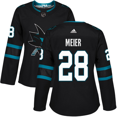 Adidas Sharks #28 Timo Meier Black Alternate Authentic Women's Stitched NHL Jersey