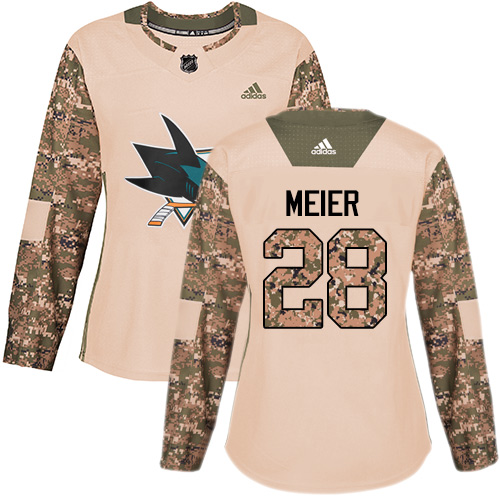 Adidas Sharks #28 Timo Meier Camo Authentic 2017 Veterans Day Women's Stitched NHL Jersey