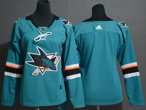 Adidas Sharks Blank Teal Home Authentic Women's Stitched NHL Jersey
