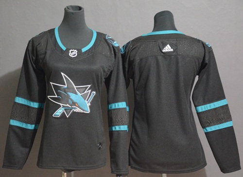 Adidas Sharks Blank Black Alternate Authentic Women's Stitched NHL Jersey
