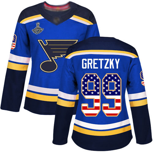 Adidas Blues #99 Wayne Gretzky Blue Home Authentic USA Flag Stanley Cup Champions Women's Stitched NHL Jersey