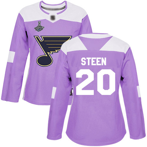 Adidas Blues #20 Alexander Steen Purple Authentic Fights Cancer Stanley Cup Champions Women's Stitched NHL Jersey