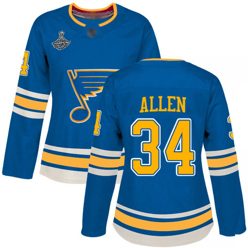 Adidas Blues #34 Jake Allen Blue Alternate Authentic Stanley Cup Champions Women's Stitched NHL Jersey