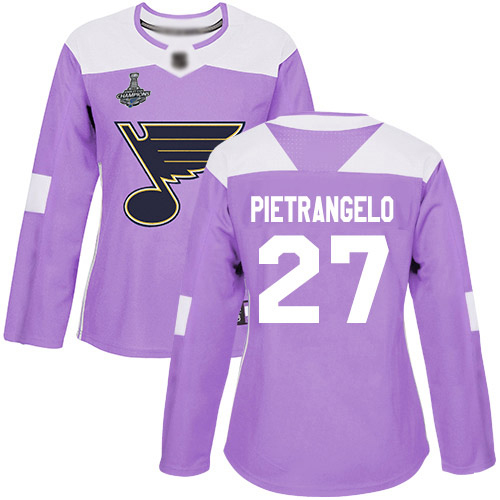 Adidas Blues #27 Alex Pietrangelo Purple Authentic Fights Cancer Stanley Cup Champions Women's Stitched NHL Jersey
