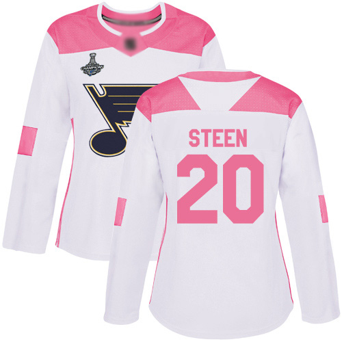 Adidas Blues #20 Alexander Steen White/Pink Authentic Fashion Stanley Cup Champions Women's Stitched NHL Jersey