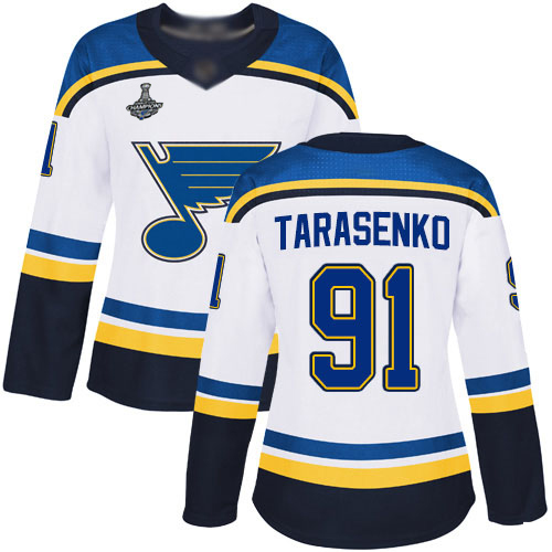 Adidas Blues #91 Vladimir Tarasenko White Road Authentic Stanley Cup Champions Women's Stitched NHL Jersey