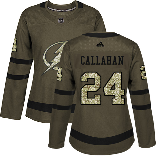 Adidas Lightning #24 Ryan Callahan Green Salute to Service Women's Stitched NHL Jersey