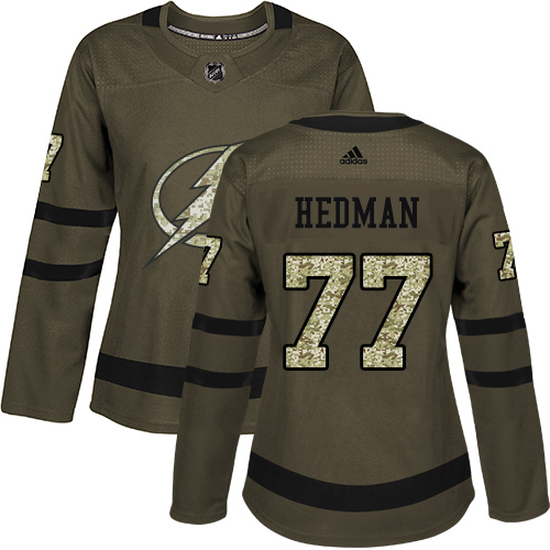 Adidas Lightning #77 Victor Hedman Green Salute to Service Women's Stitched NHL Jersey